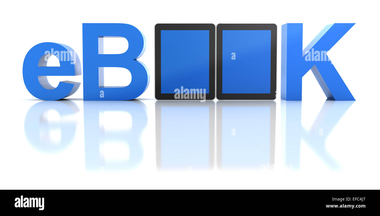 eBook word with digital tablets - Stock Image