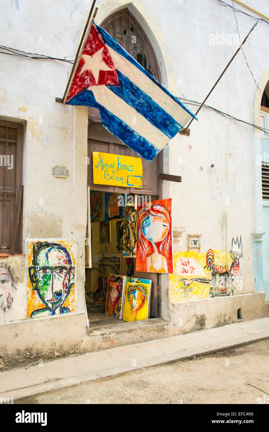 Cuba Old Havana La Habana Vieja The Almost Famous Gallery Modern Contemporary Art Paintings By Cuban Artist Artists