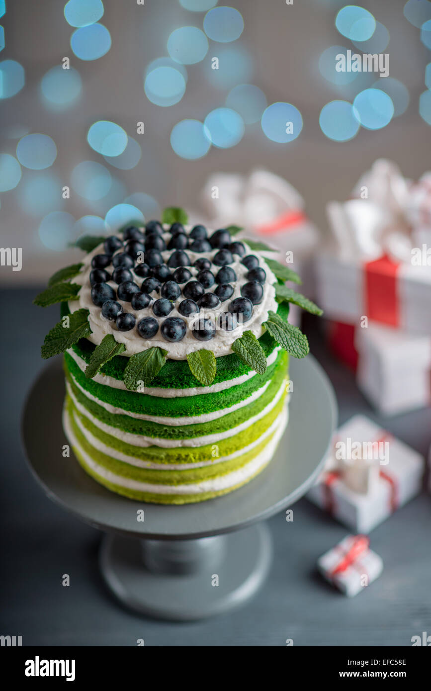 Nice Sponge Happy Birthday Cake With Mascarpone And Grapes With On