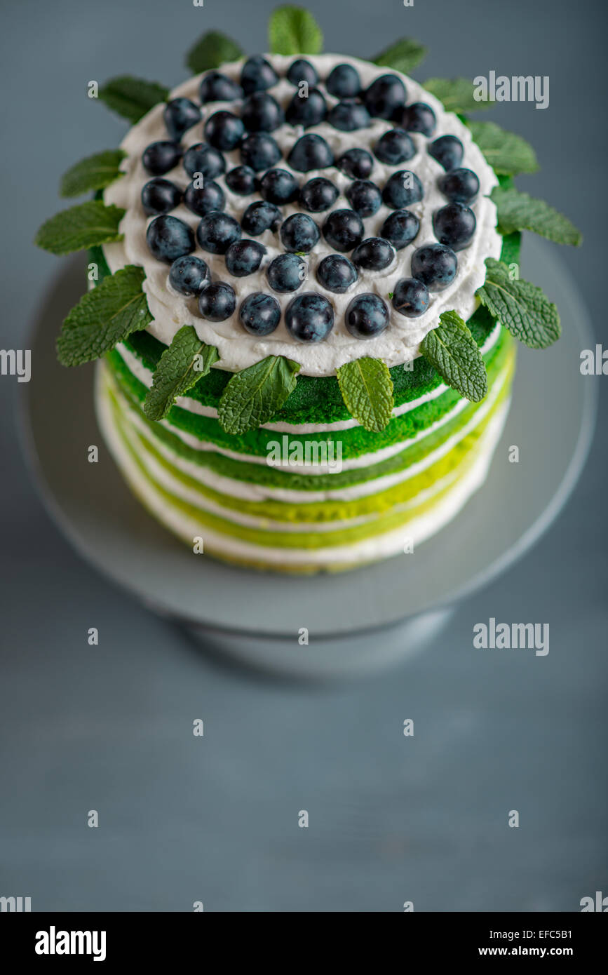 Nice sponge happy birthday cake with mascarpone and grapes on the cake stand - Stock Image