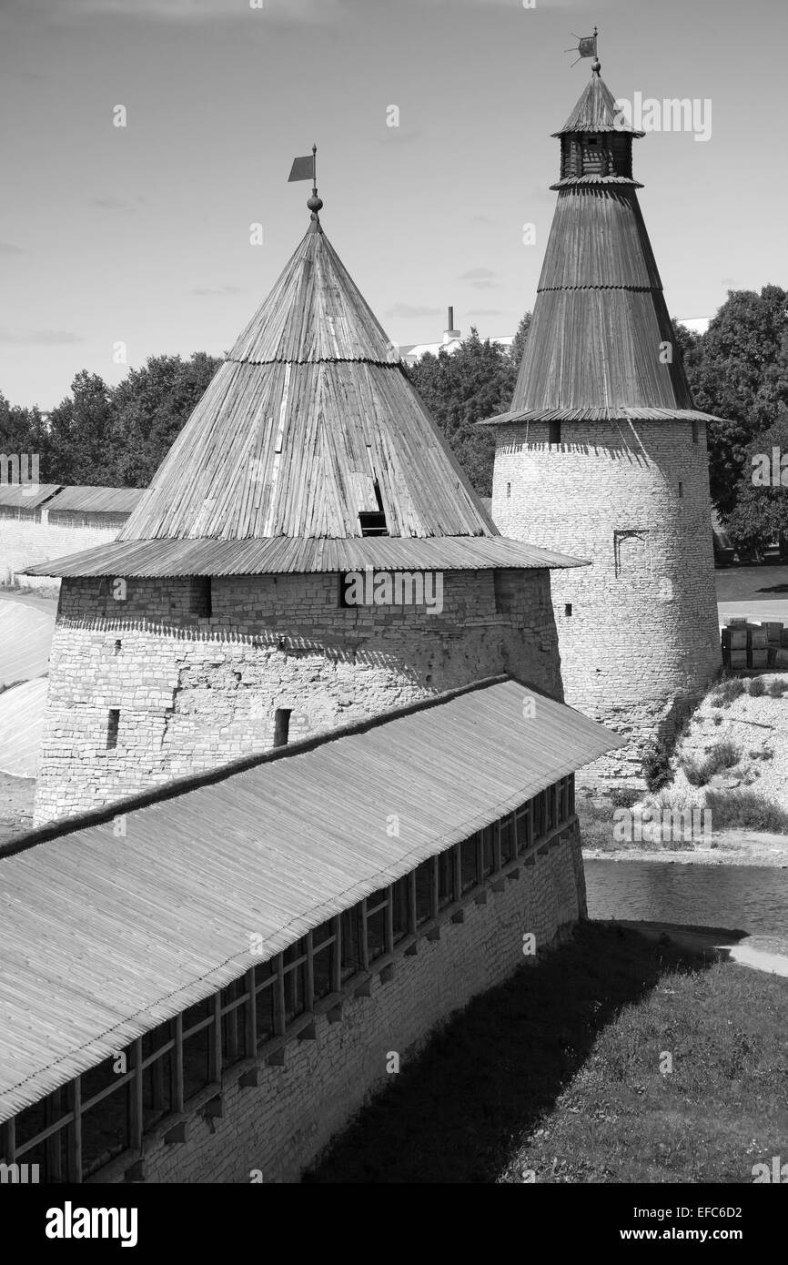 Stone towers of old fortress. Kremlin of Pskov, Russia. Classical Russian ancient architecture - Stock Image