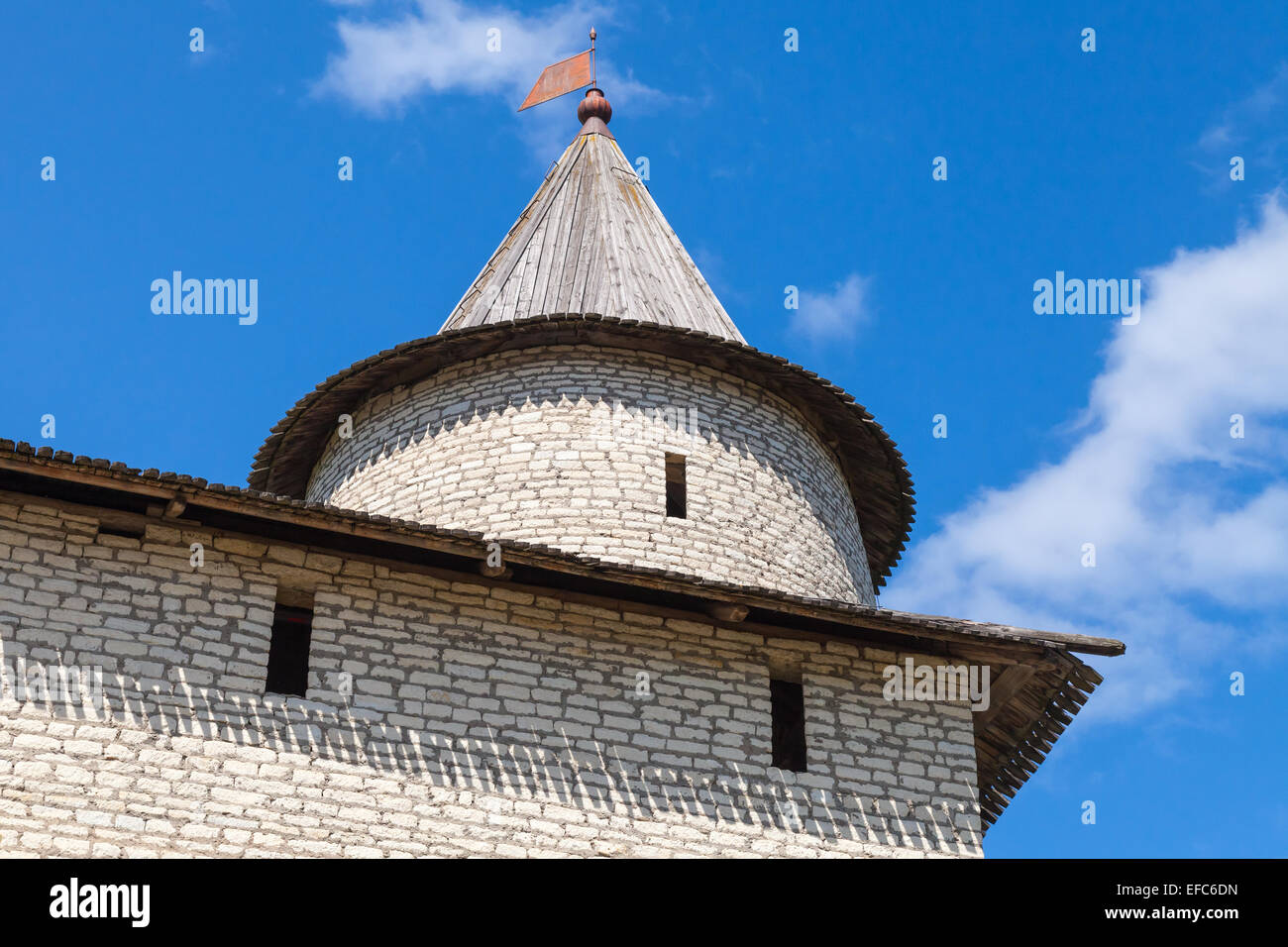 Stone tower of old fortress. Kremlin of Pskov, Russia. Classical Russian ancient architecture - Stock Image
