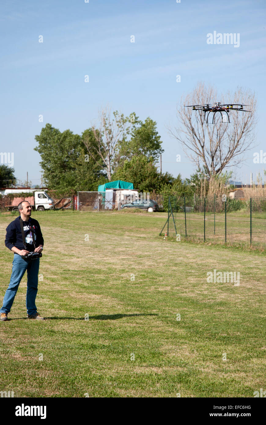 drone and pilot Stock Photo