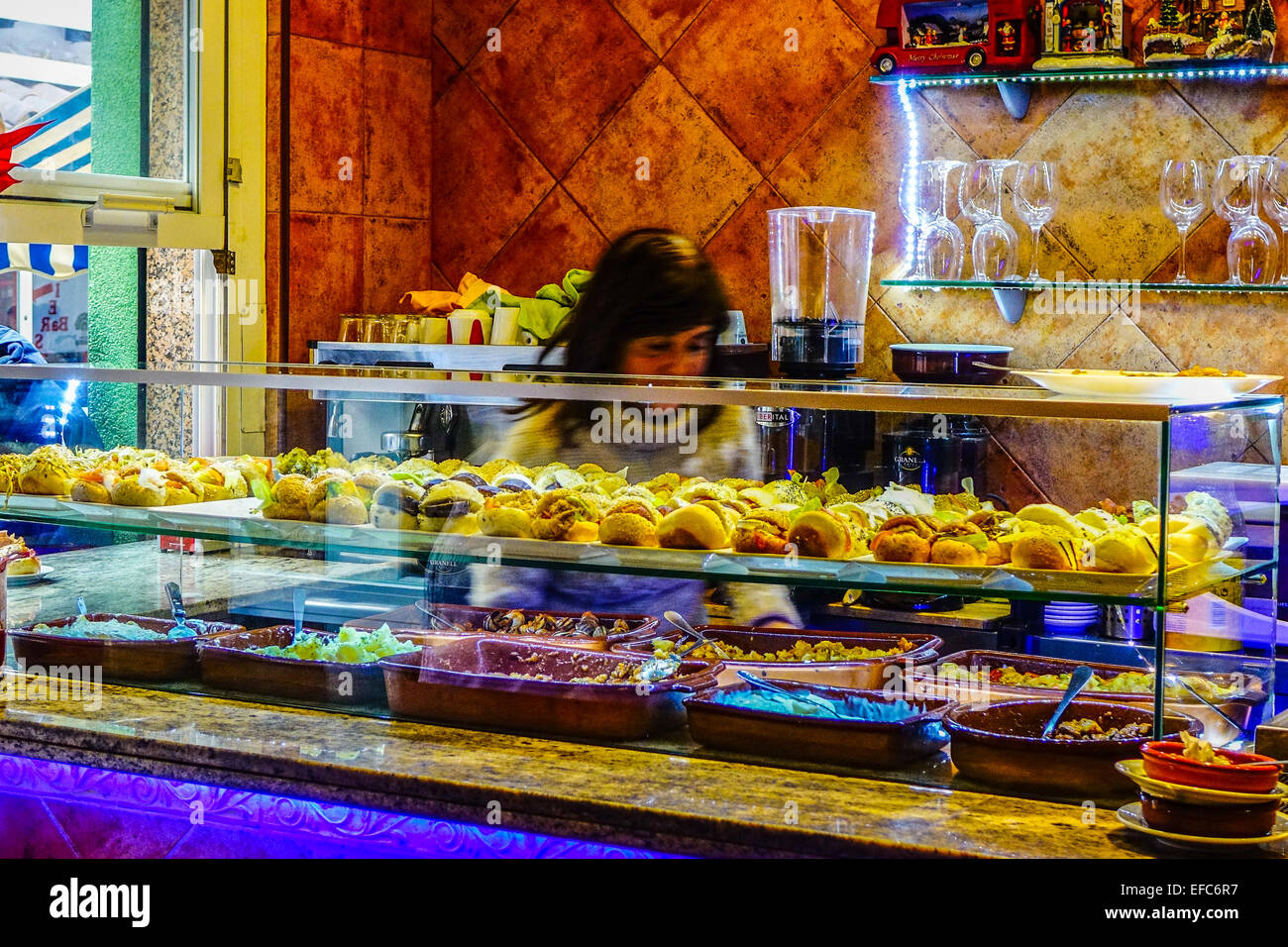 Tapas Food In Glass Display Cabinet In Bar, Benidorm, Costa Blanca, Spain