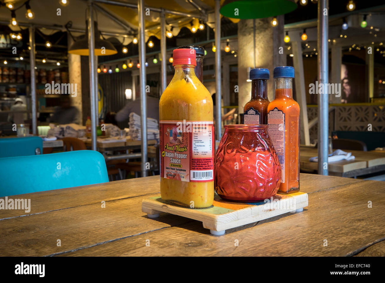 Turtle Bay Restaurant Table - Stock Image