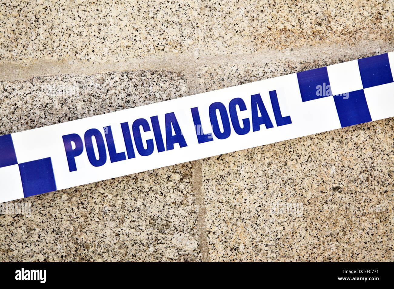 Spanish police line close up - Stock Image