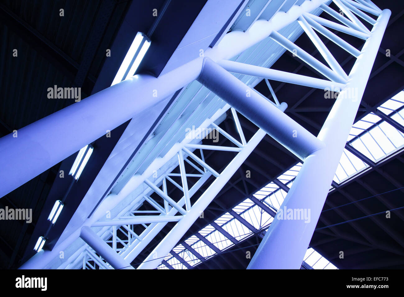 Abstract architectural construction toned in blue color - Stock Image