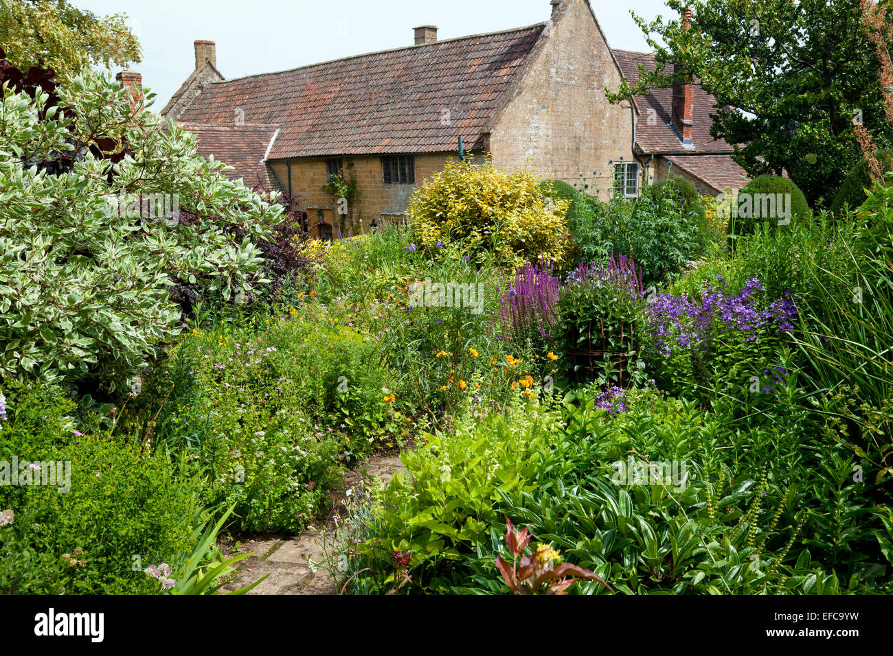 The Margery Fish Cottage Garden at East Lambrook Manor, Somerset, England, UK - Stock Image