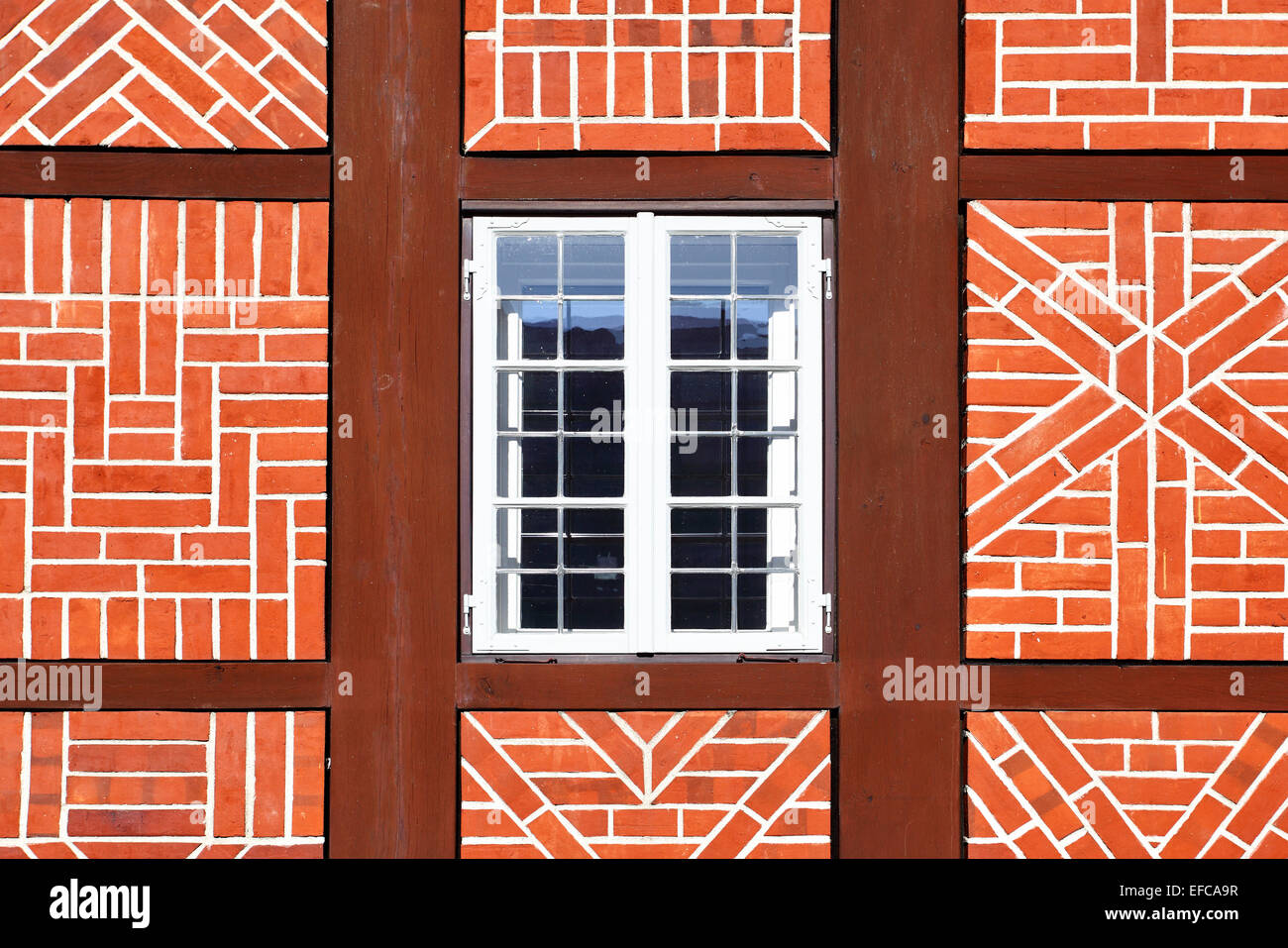 Window of old timber framing house, Germany - Stock Image