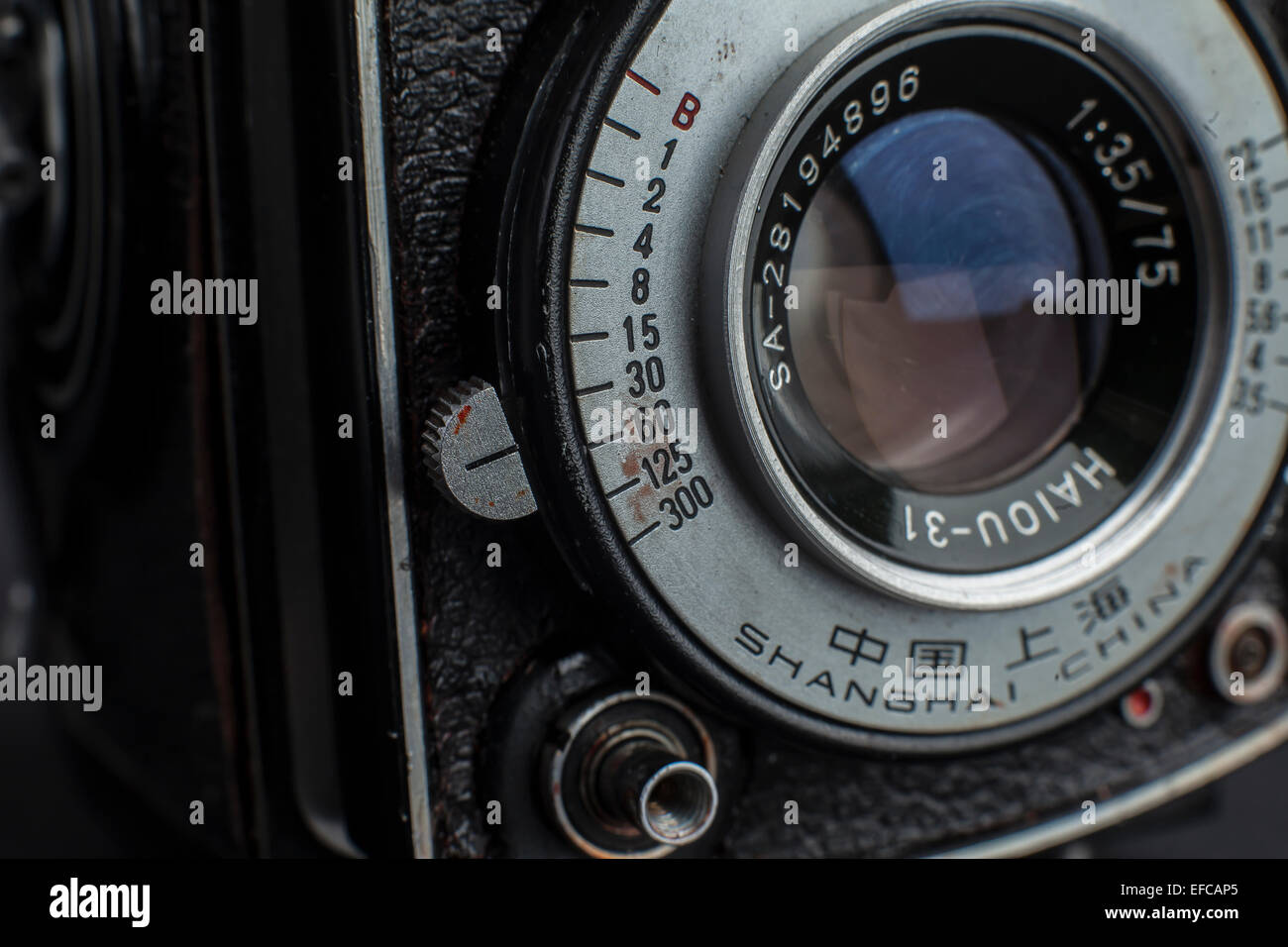 the bottom front lens element of an vintage medium format twin reflex camera - Stock Image