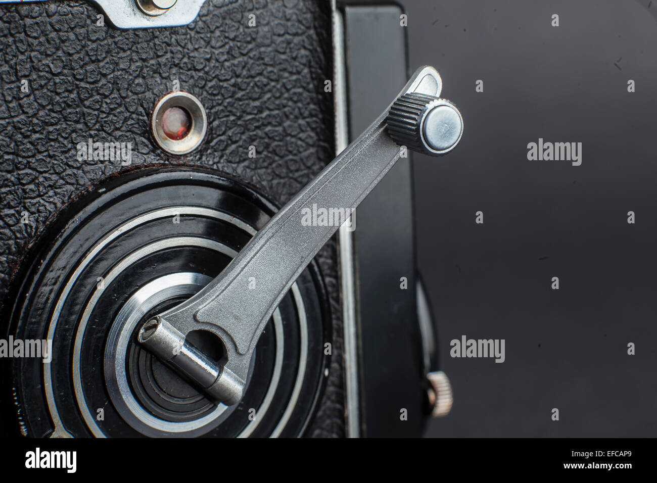 the crank handle of an old medium format twin reflex camera - Stock Image