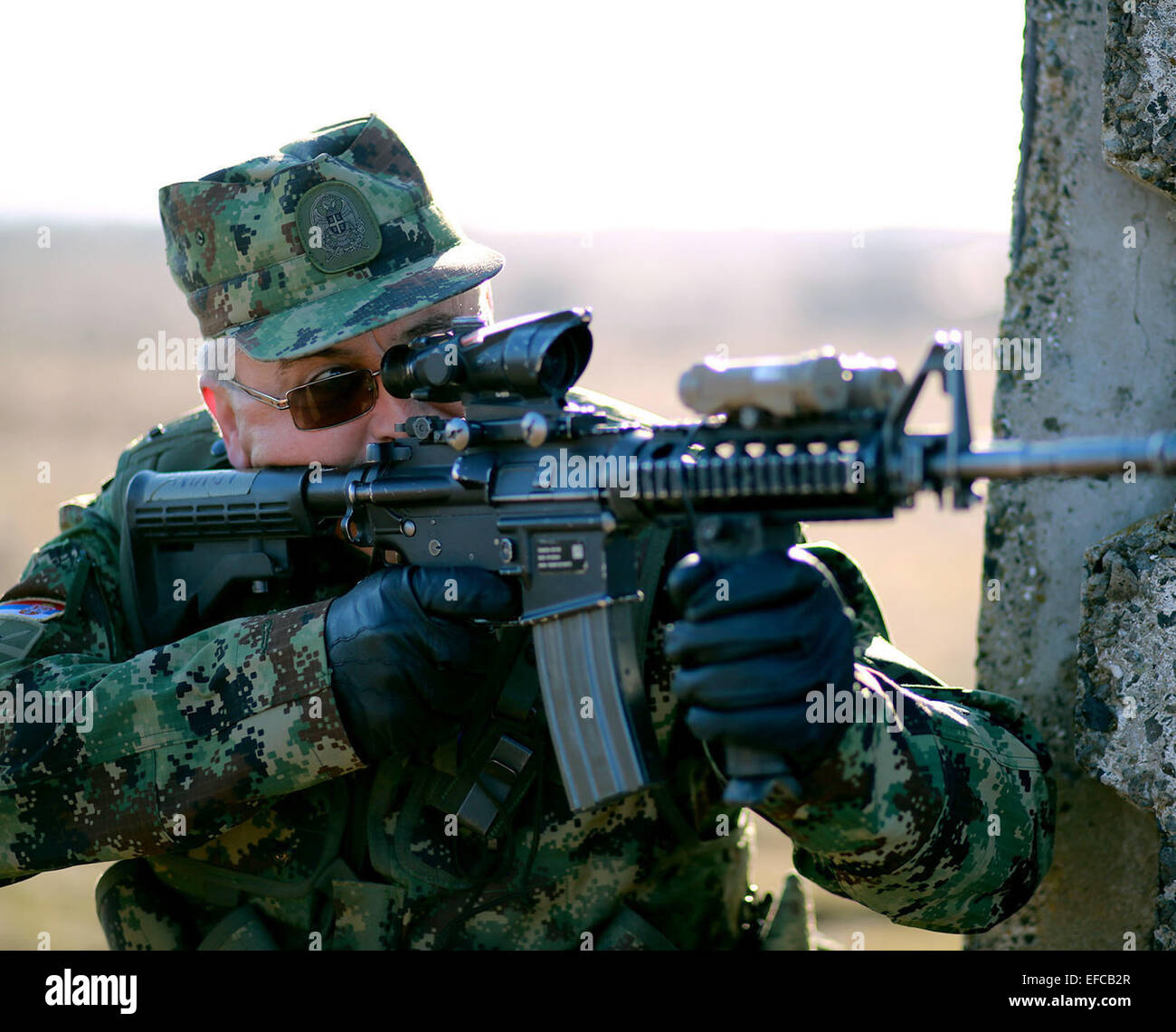 A Serbian Army soldier during joint training in the urbanized terrain course with the U.S. Marines January 17, 2015 - Stock Image