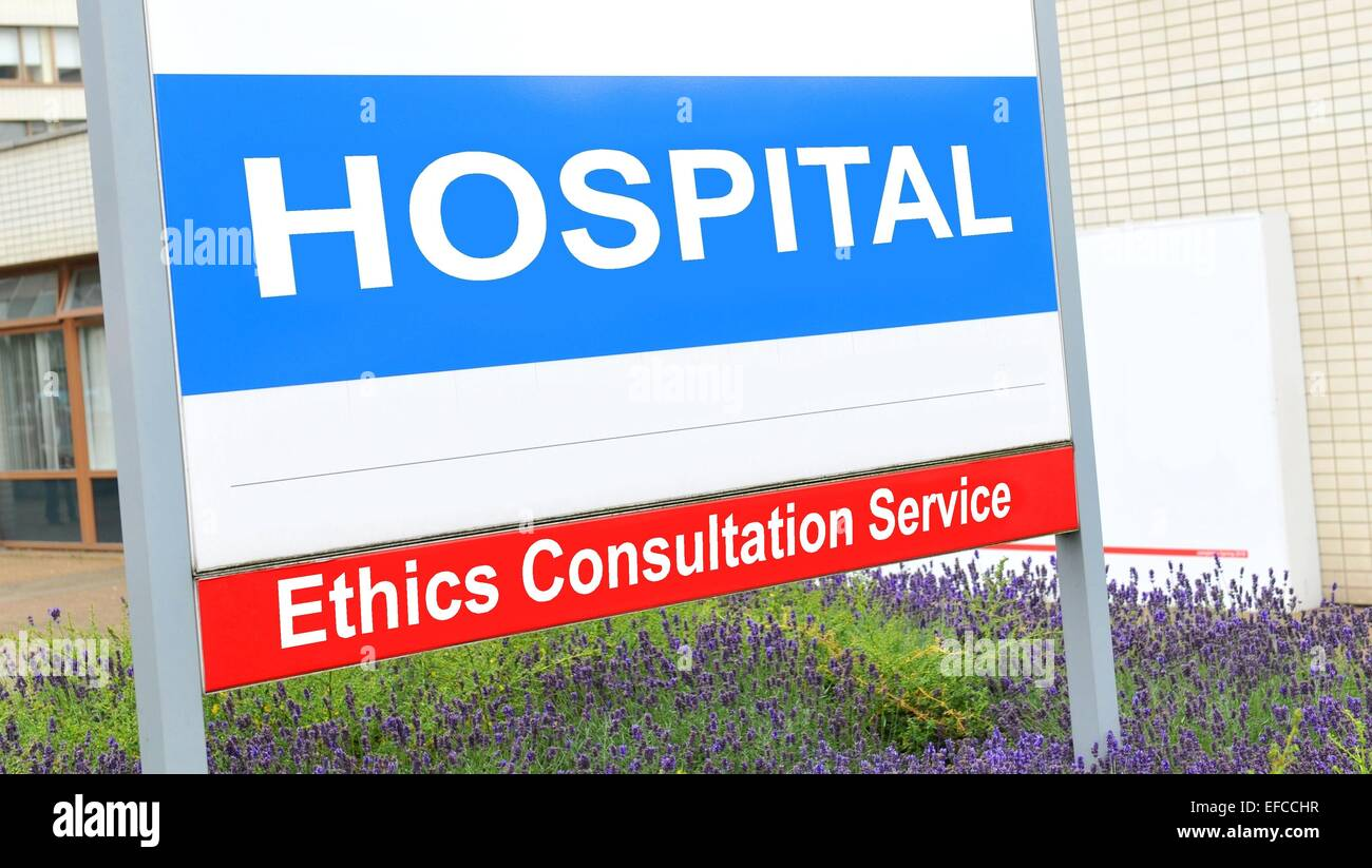 Ethics consultation service sign at the hospital - Stock Image