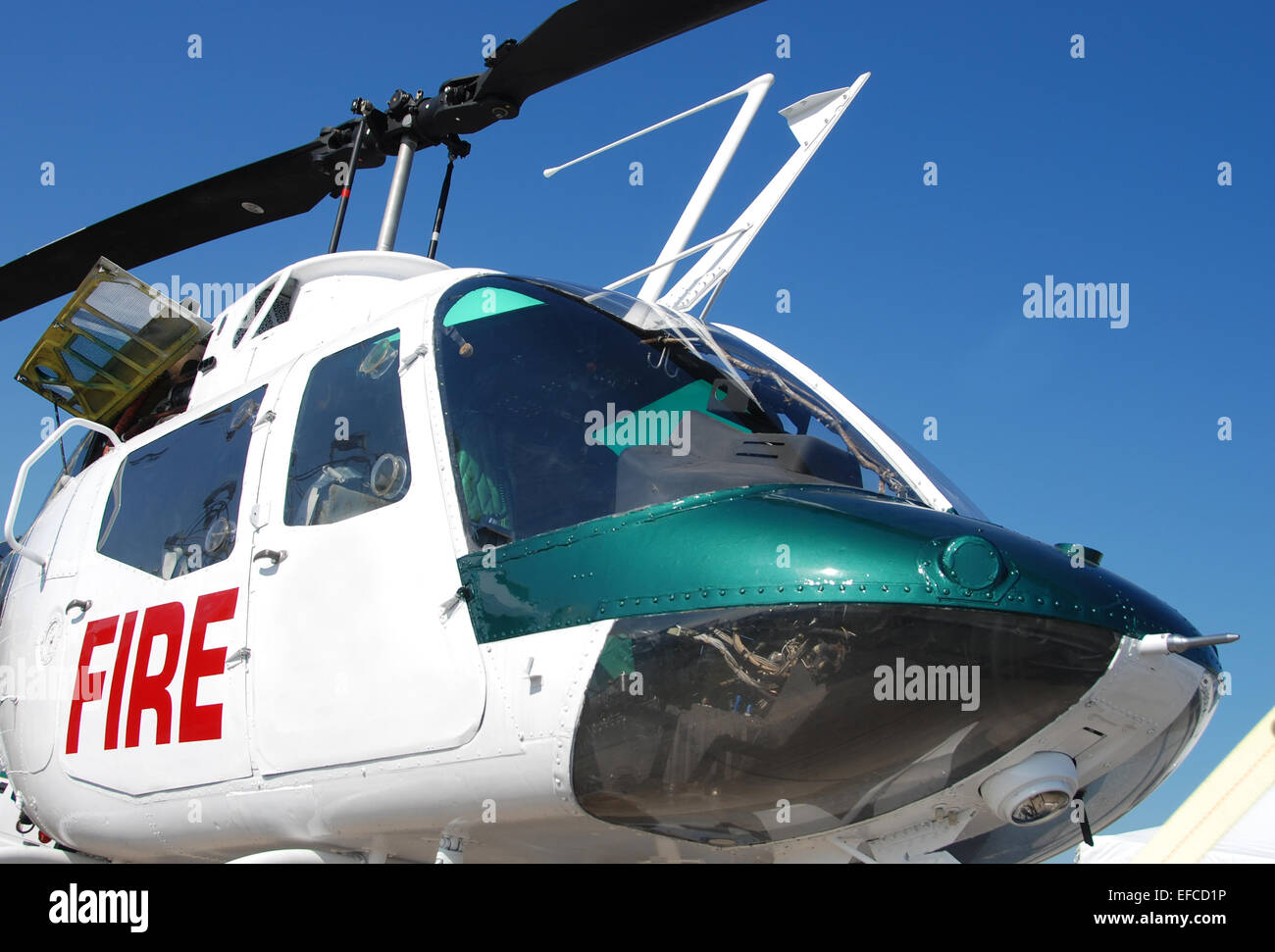 Firefighting helicopter closeup view - Stock Image
