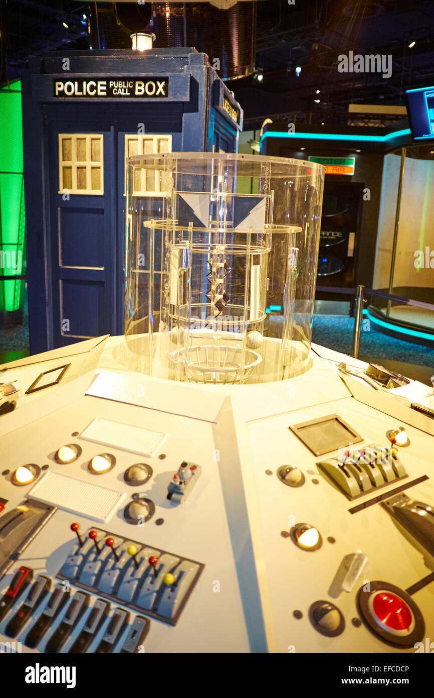The Tardis With It's Control Panel Used By The Time Lord Dr Who On Show At The National Space Centre Leicester - Stock Image