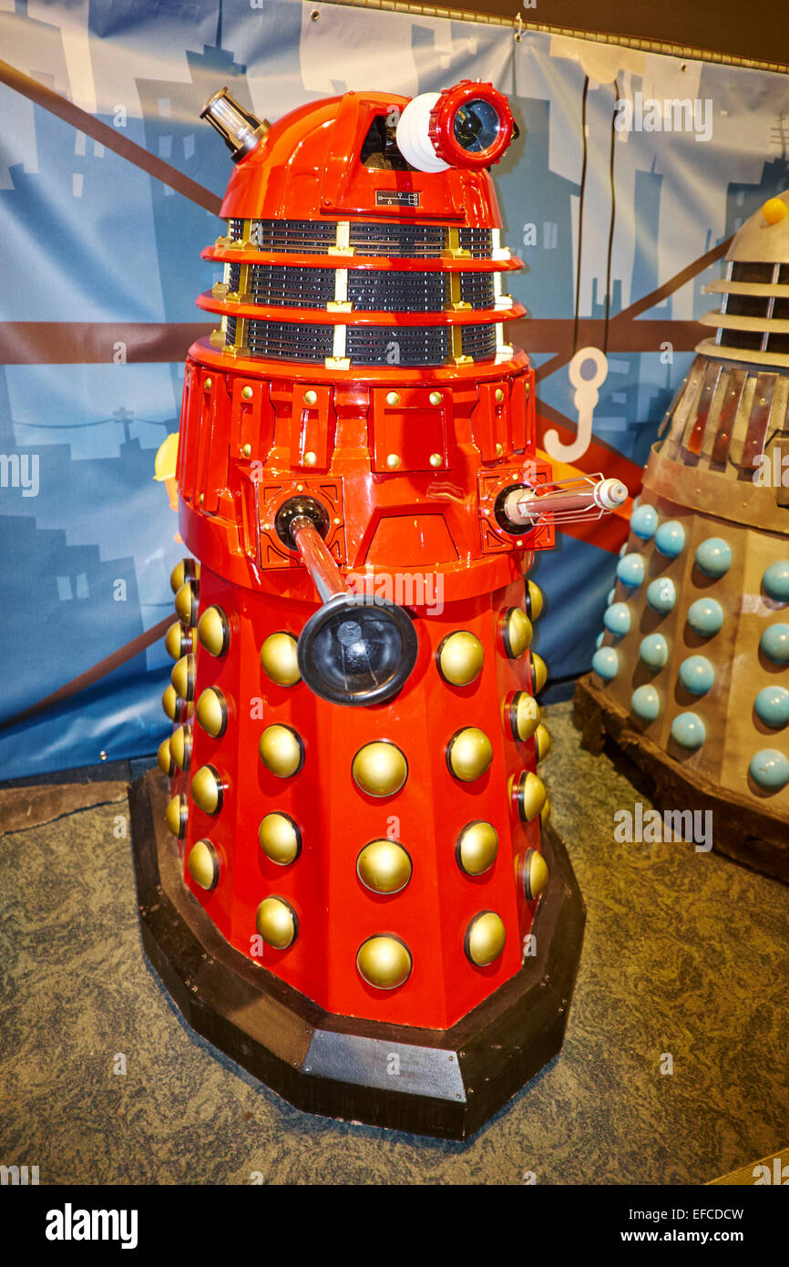 Red Dalek At The Time Lord Dr Who Exhibition At The National Space Centre Leicester UK - Stock Image