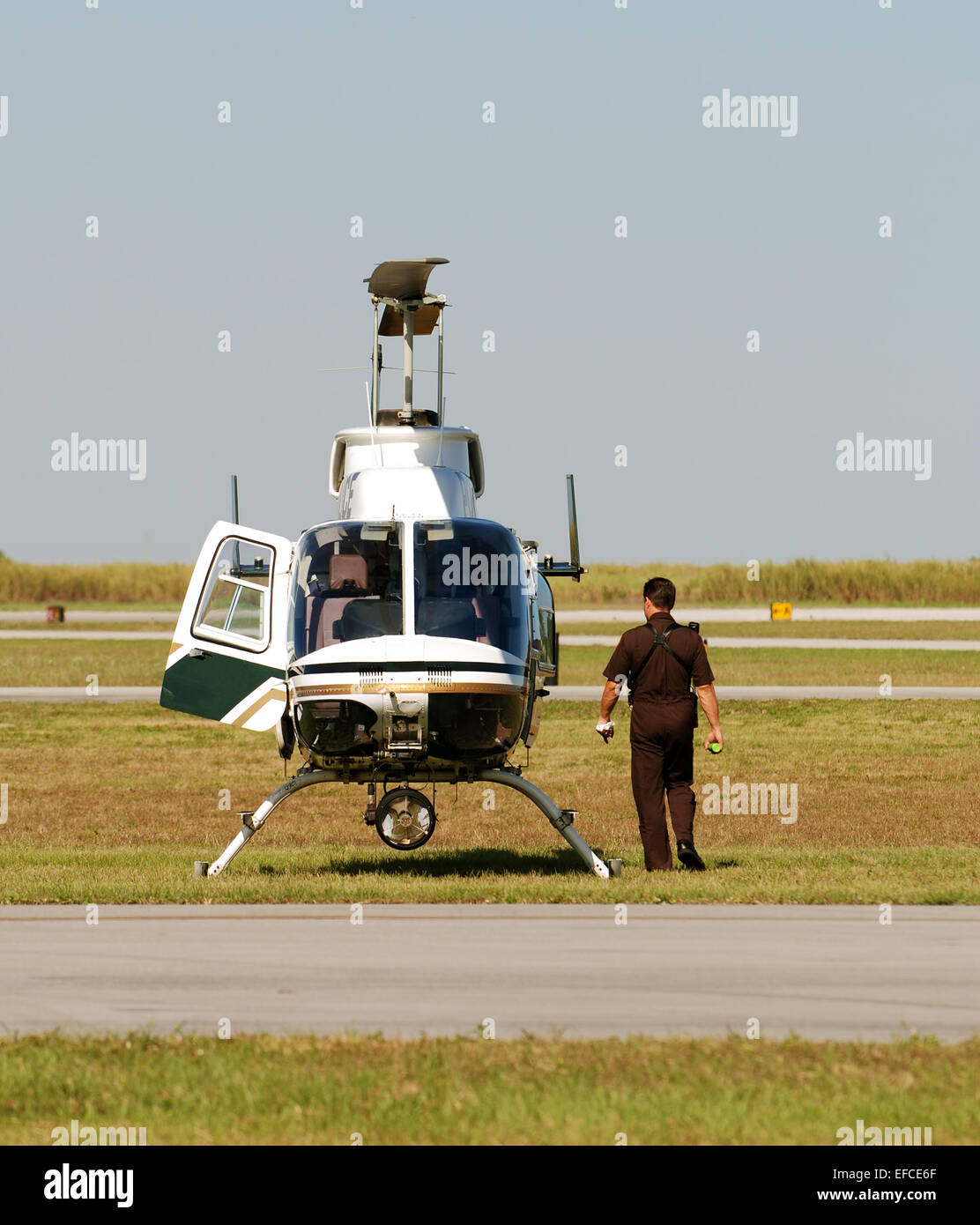 Police patrol by helicopter - Stock Image