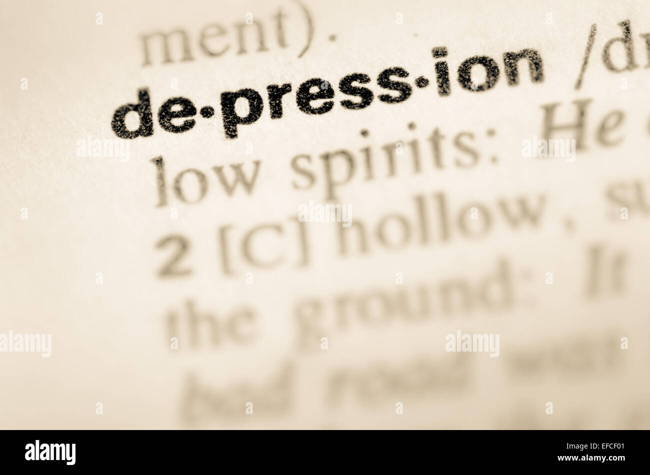 definition of word depression in dictionary stock photo: 78336497