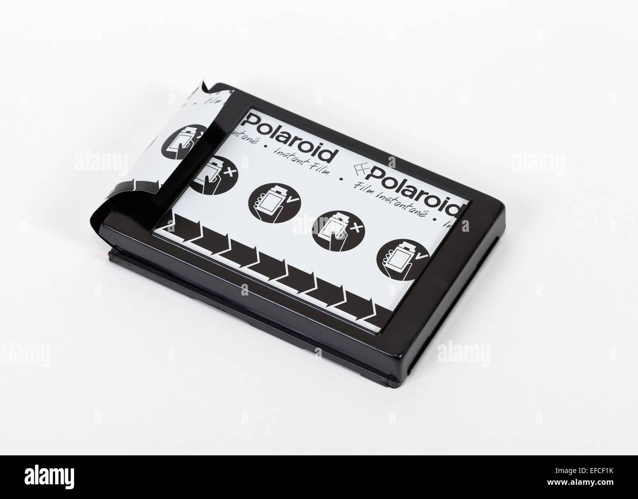 Cassette for instant camera Polaroid over white background - Stock Image