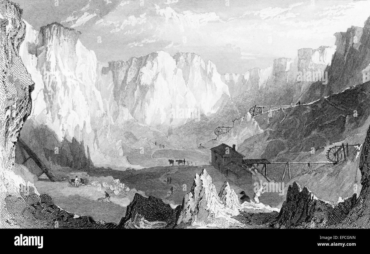 Carclaze tin mine, near St Austle, Cornwall, England, UK, 1831. Engraving Allom & Petit, pub Fisher - Stock Image