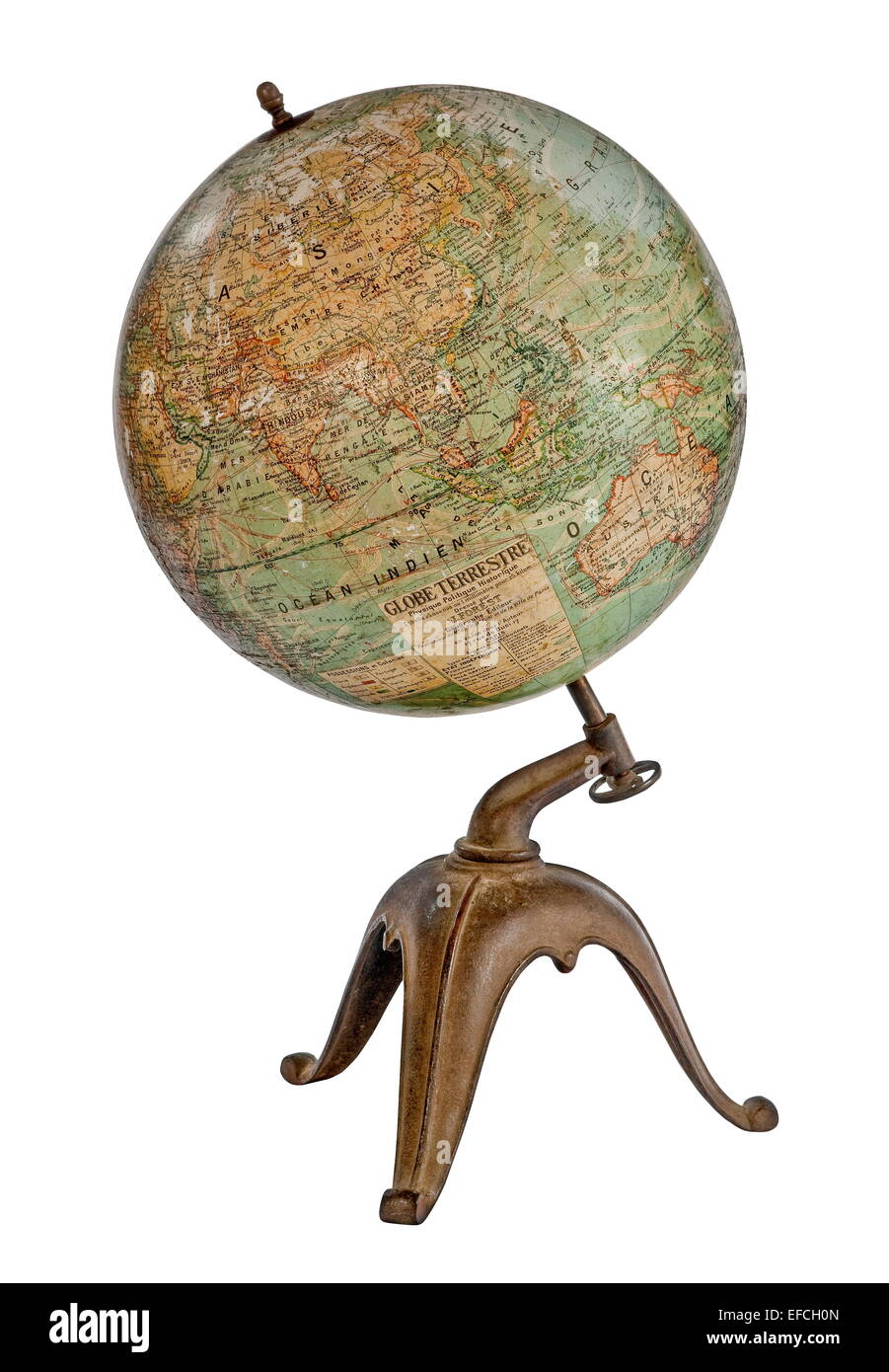 old antique desk top world globe on stand isolated on white - Old Antique Desk Top World Globe On Stand Isolated On White Stock