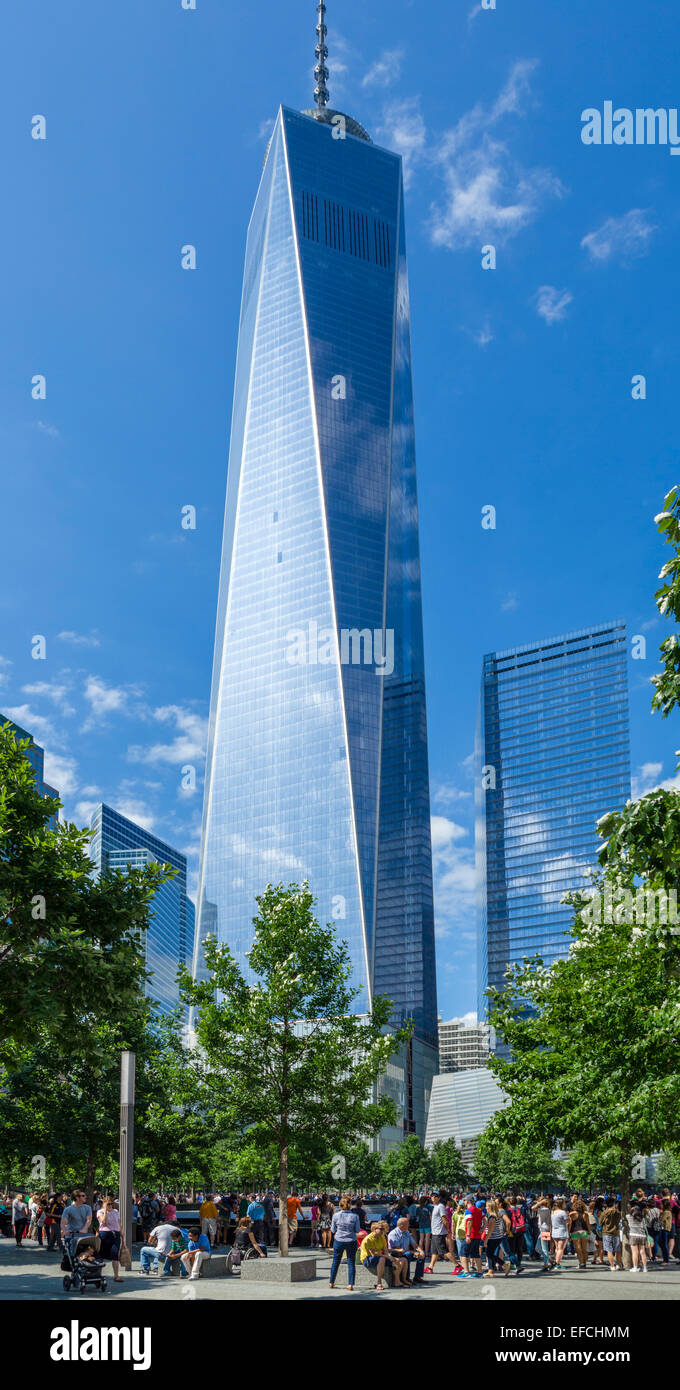 South Pool of the National September 11 Memorial with One World Trade Center behind, NYC,New York City, NY, USA - Stock Image