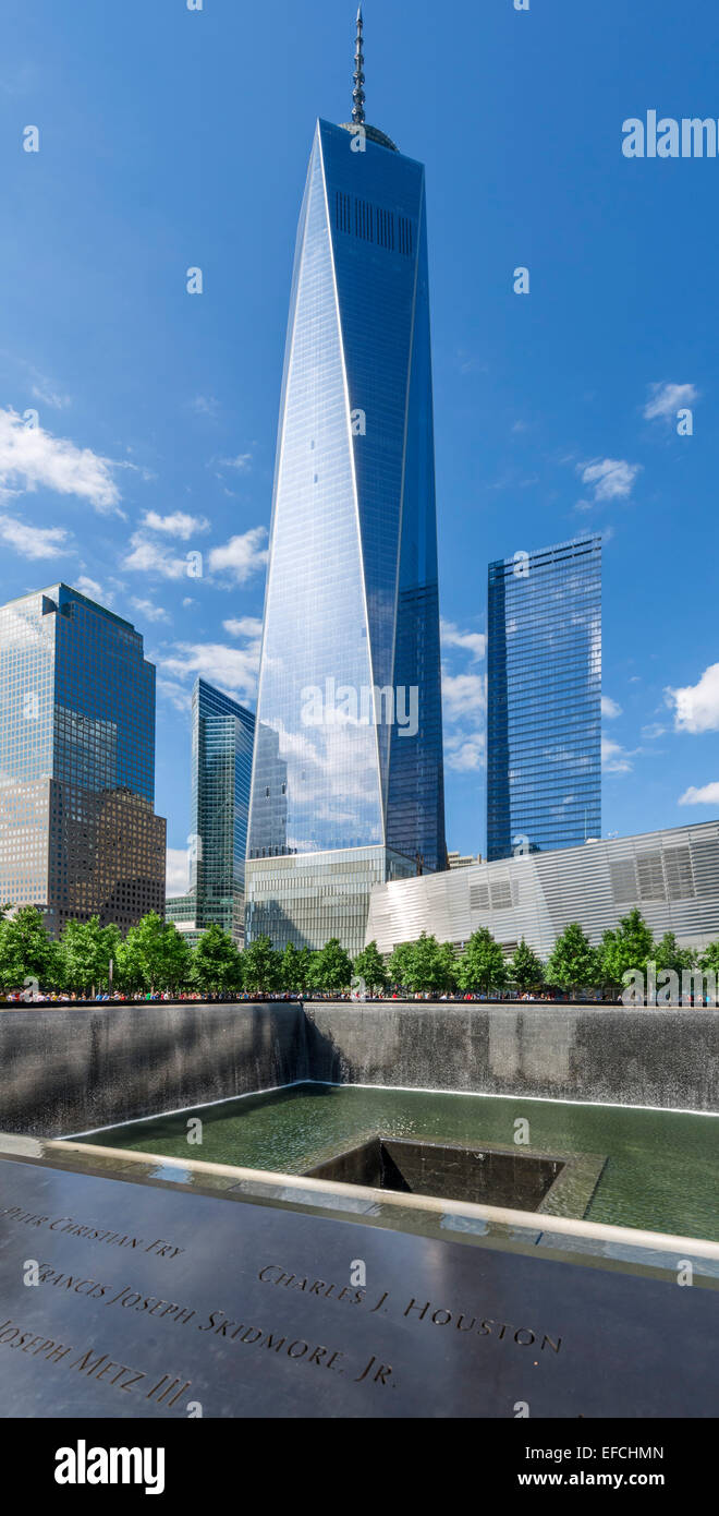 South Pool of National September 11 Memorial with One World Trade Center ('Freedom Tower') behind , New - Stock Image