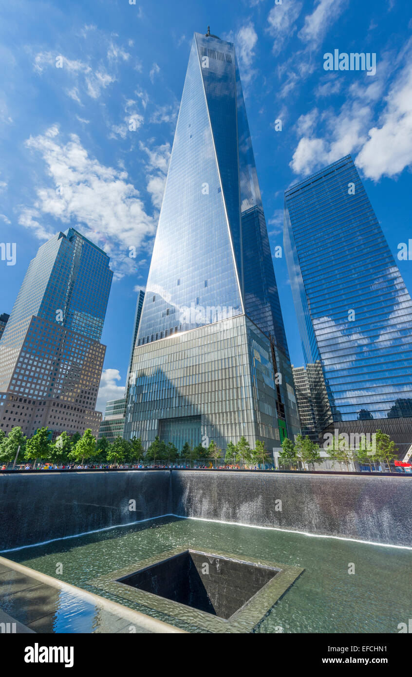 North Pool of National September 11 Memorial with One World Trade Center ('Freedom Tower') behind , New - Stock Image