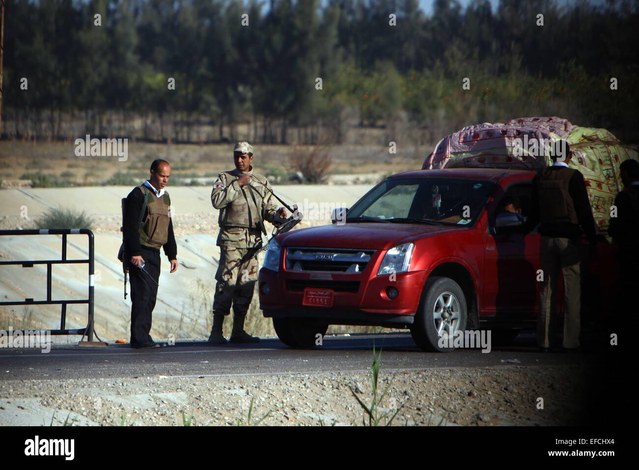 North Sinai, Egypt  31st Jan, 2015  Egyptian security personnel