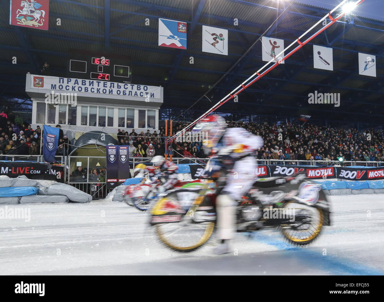Moscow Region, Russia. 31st Jan, 2015. Riders compete in the firsl final of the 2015 MOTUL FIM Ice Speedway Gladiators Stock Photo