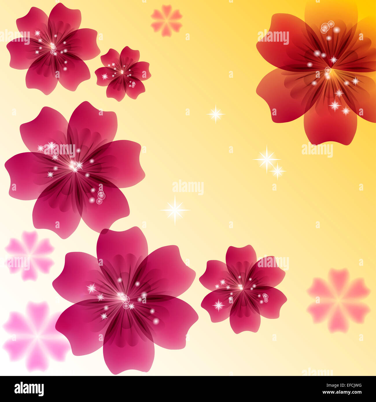 Wedding card or invitation with abstract floral background. - Stock Image