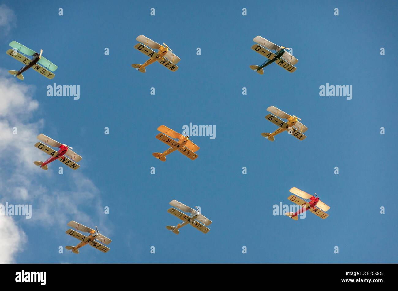 Nine De Havilland Tiger Moths, 1930s biplane, flying in formation at Kemble Airshow - Stock Image
