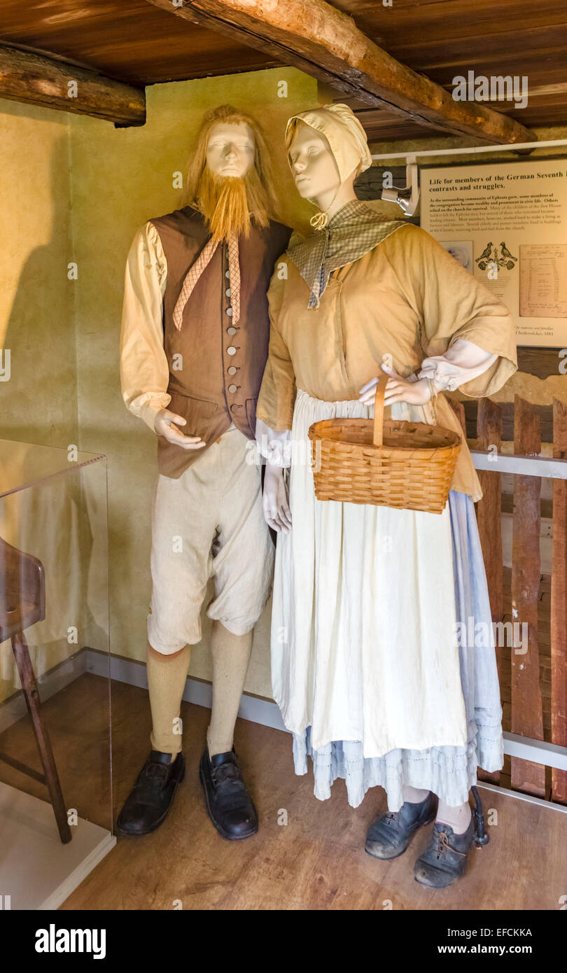 Exhibit showing the clothes of members of the Ephrata Cloister, Lancaster County, Pennsylvania, USA - Stock Image