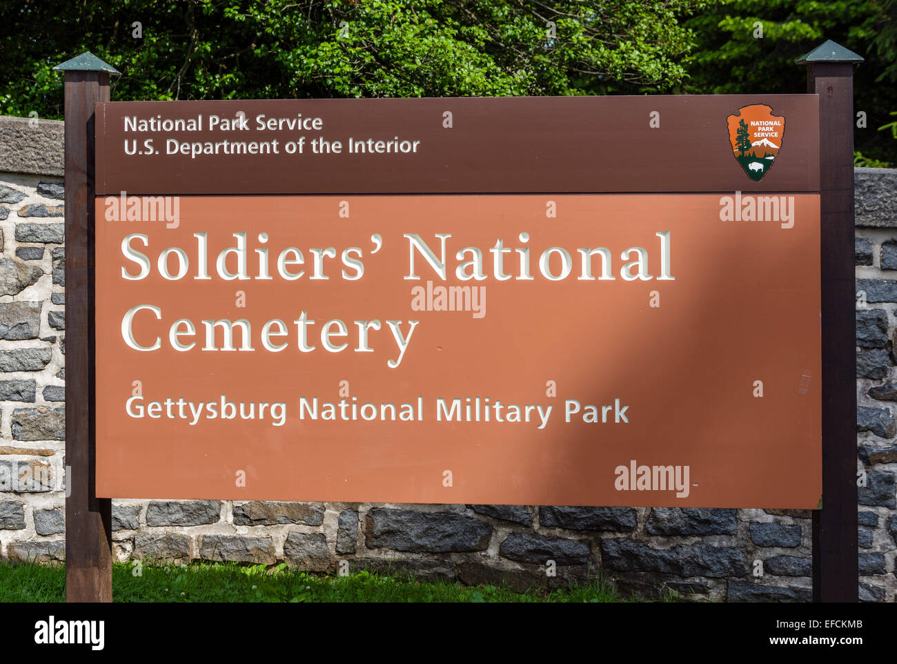 Entrance to Soldiers' National Cemetery, Gettysburg National Militiary Park, Pennsylvania, USA - Stock Image
