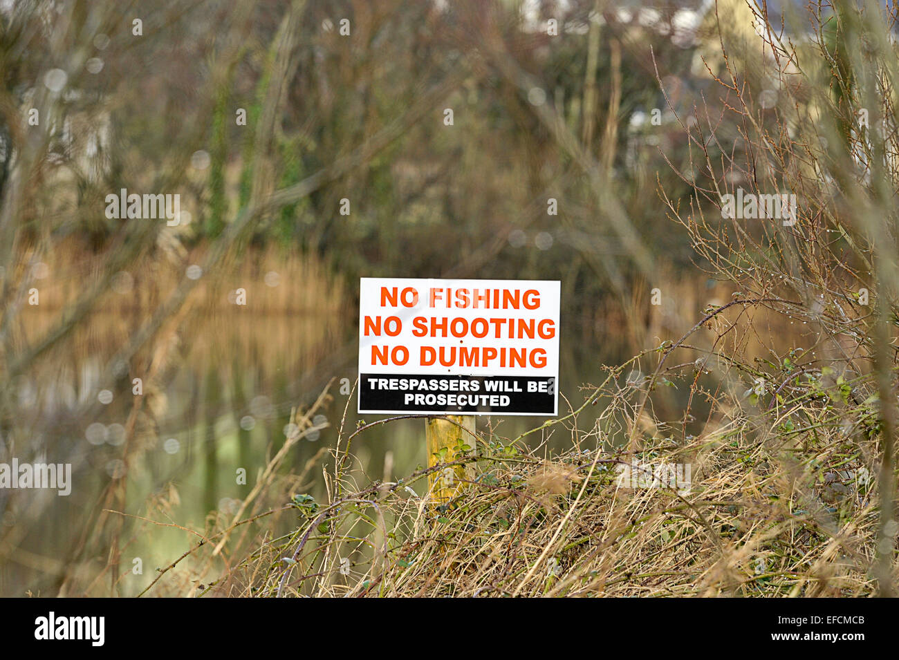 Sign at river's edge, Burnfoot, County Donegal, Ireland reads No Fishing, No Shooting, No Dumping - Stock Image