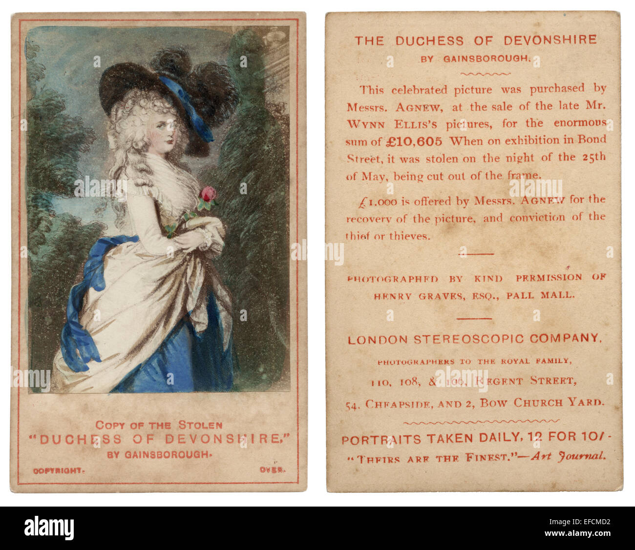 Front And Back Of A Hand Tinted Carte De Visite Announcing Reward For The Stolen Painting By Thomas Gainsborough Duchess Devonshire 1876