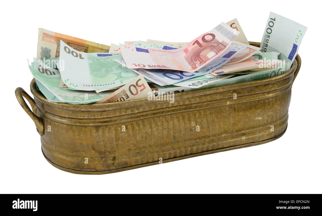 Lot of Euro banknote in the brazen container isolated on white. - Stock Image