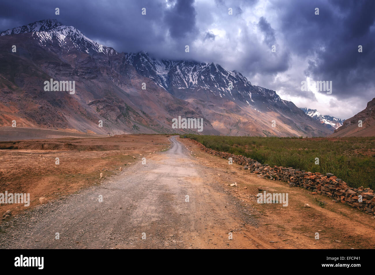 the road in himalayas mountain - Stock Image