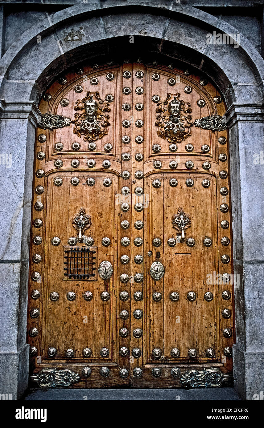 Vintage wooden doors with fanciful silver decorations and door Stock ...