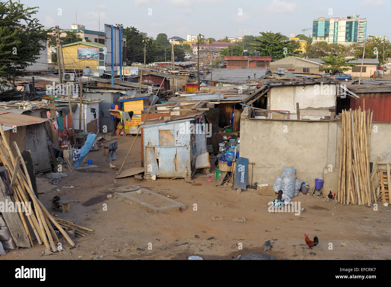 A shantytown located near downtown Accra, Ghana, West Africa. - Stock Image