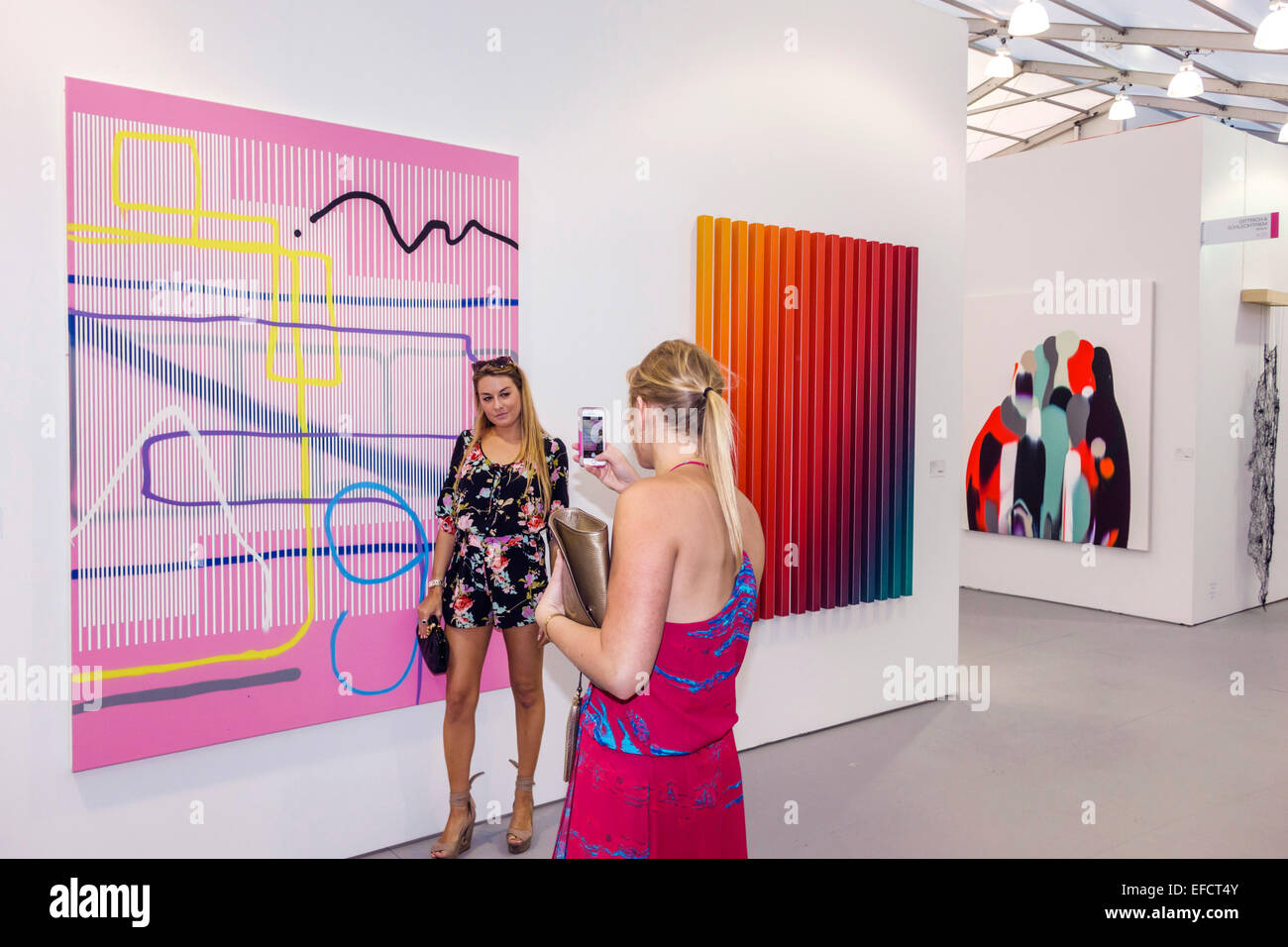 Miami Beach Florida Untitled Contemporary Art Show Art Basel satellite fair inside gallery exhibit Dittrich & - Stock Image
