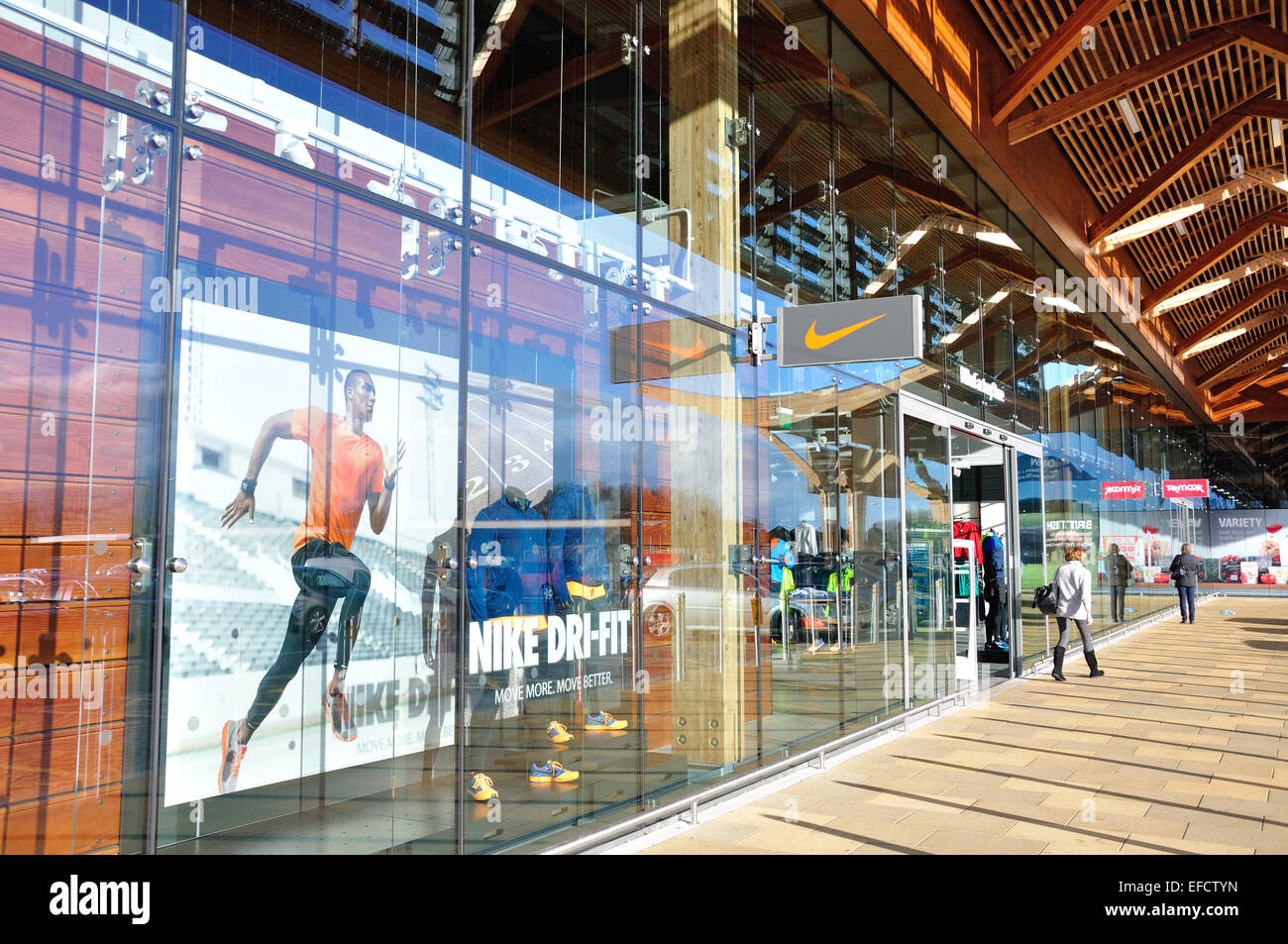 8f0bfc84ff Nike Factory Shop, The Bishop Shopping Centre, Taplow Stock Photo ...