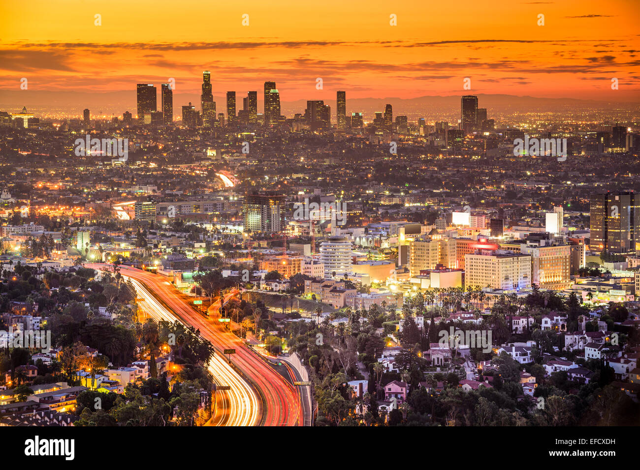 Los Angeles, California, USA downtown skyline at dawn. - Stock Image