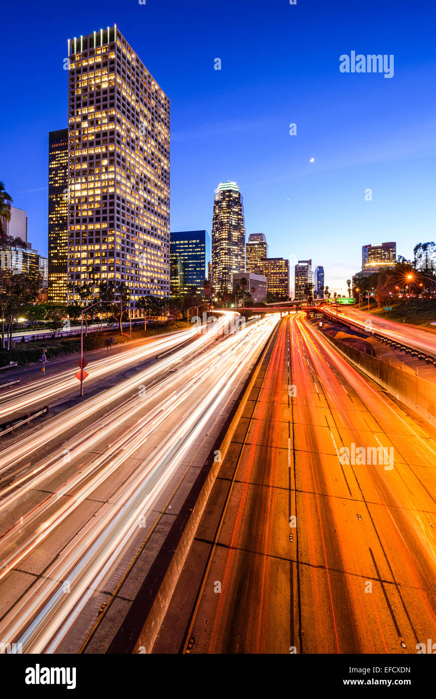 Los Angeles, California, USA downtown city skyline over the highway. Stock Photo