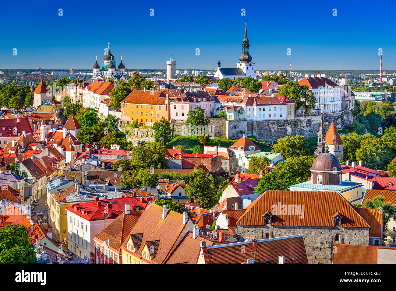 Tallinn, Estonia, old town skyline of Toompea Hill. - Stock Image