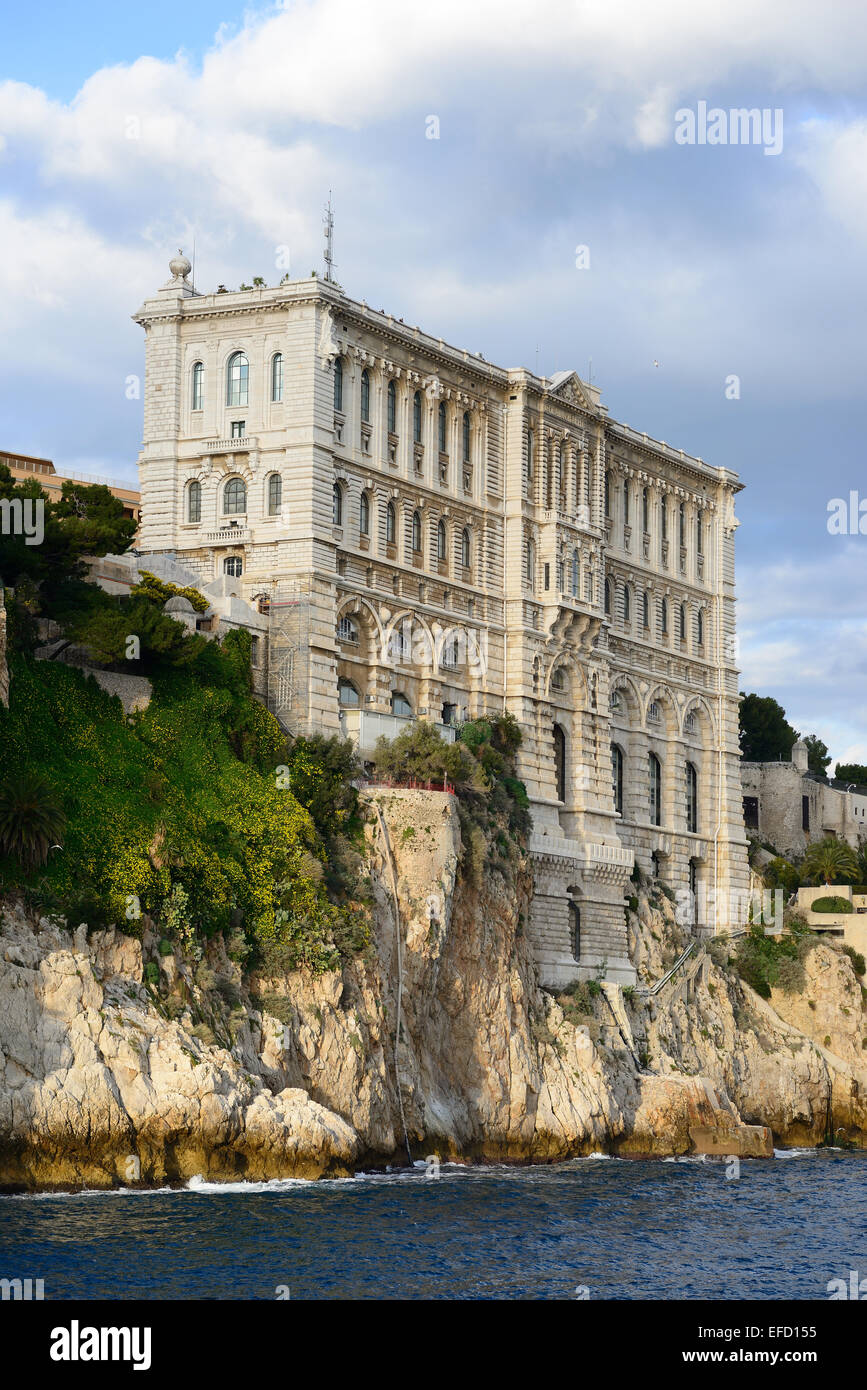 OCEANOGRAPHIC MUSEUM historic structure built on the edge of a cliff in Monaco-Ville (the Rock), in the Principality - Stock Image