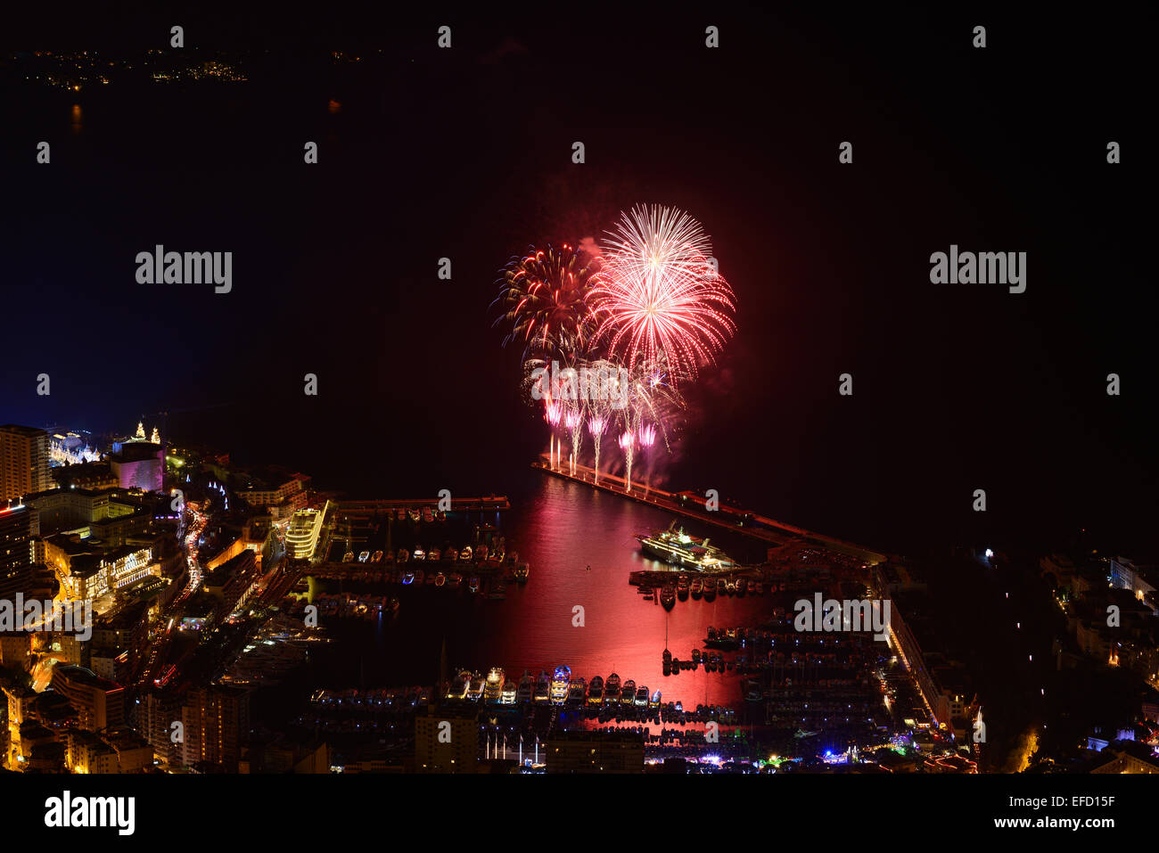 NEW YEAR'S EVE FIREWORKS in Port Hercule in the Principality of Monaco - Stock Image