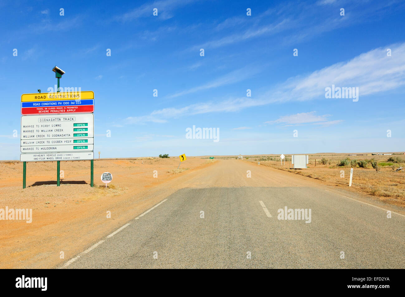 End of tarmac road, Oodnadatta Track, South Australia - Stock Image