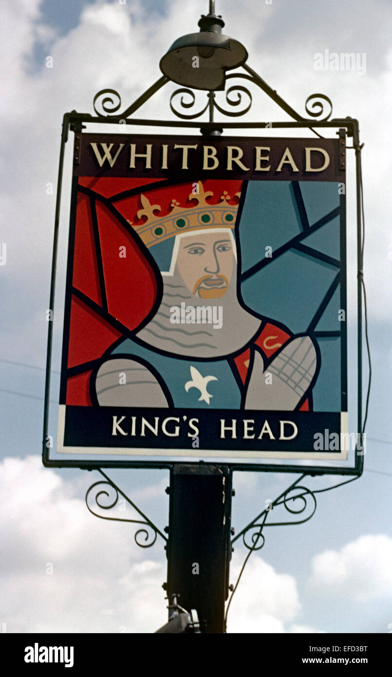 Old Pub Signs, The Kings Head, Wateringbury, Kent, Britain - 1960's - Stock Image