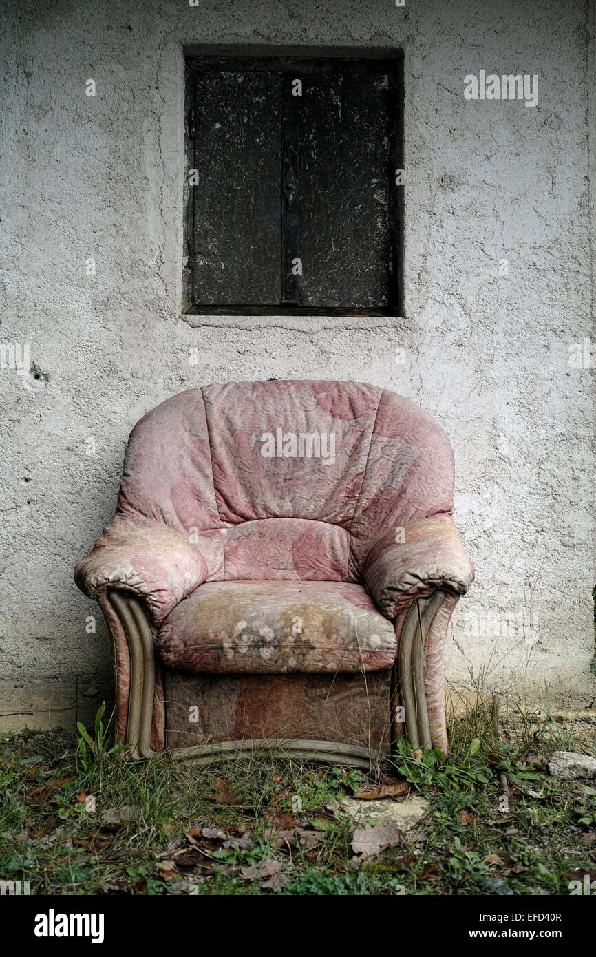 Empty Old Armchair In The House Front   Stock Image